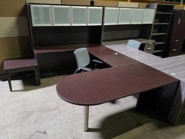 Espresso U Shape Desk - Bullet Top & Glass Hutch