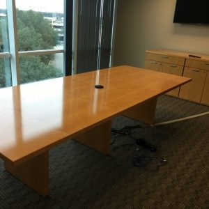 10ft Maple Conference Table Matching Credenza