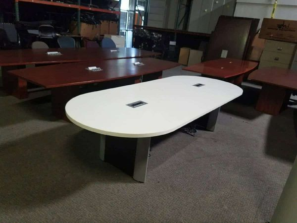 white 10 foot conference room table two power modules