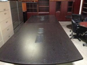 Used 16ft Ebony Conference Table with Power & Data