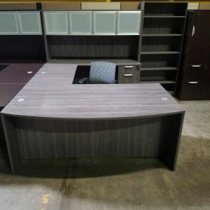 Secondhand Gray Bow Front U Shape Desk - Glass Hutch
