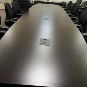 Used 20ft Dark Maple Wood Veneer Conference Table