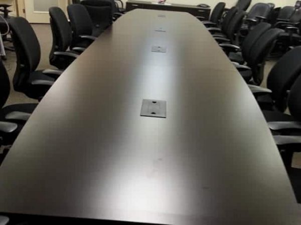 Used 20ft Dark Maple Wood Veneer Conference Table