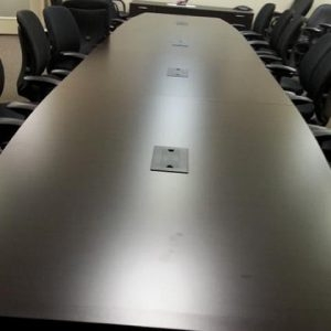 Used 20 ft. wood veneer conference table black
