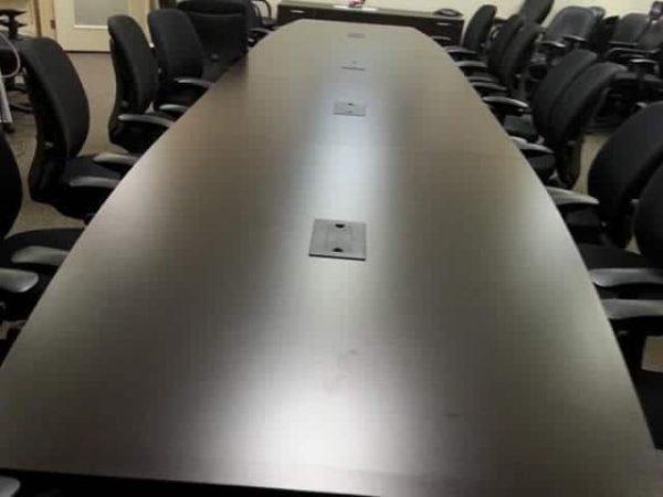 Used 20 ft. wood veneer conference table black