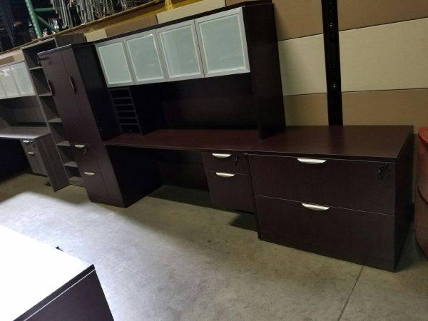 Espresso Straight Front Desk With a Credenza and Glass Hutch