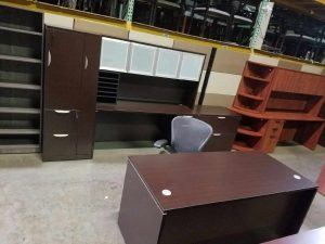 Used Espresso Straight Front Desk With a Credenza and Glass Hutch