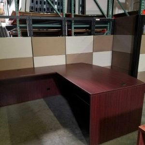 For sale used mahogany bow front desk with a credenza and glass hutch Used