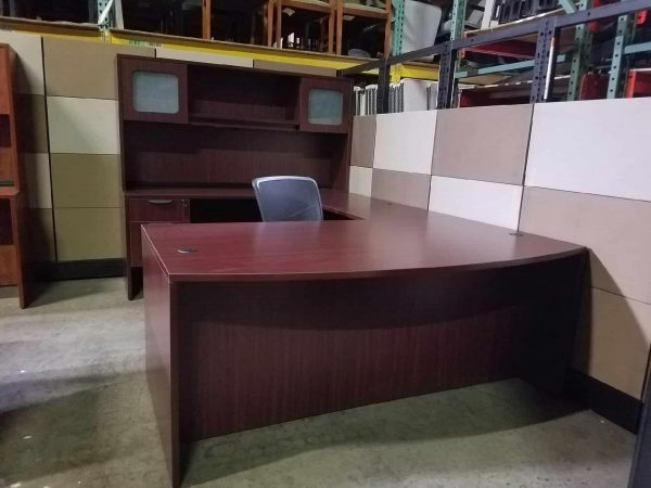 mahogany bow front desk with a credenza and glass hutch Used