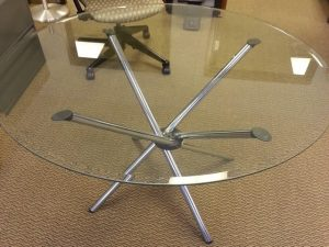 """Used 42"""" Round Glass Conference Table"""