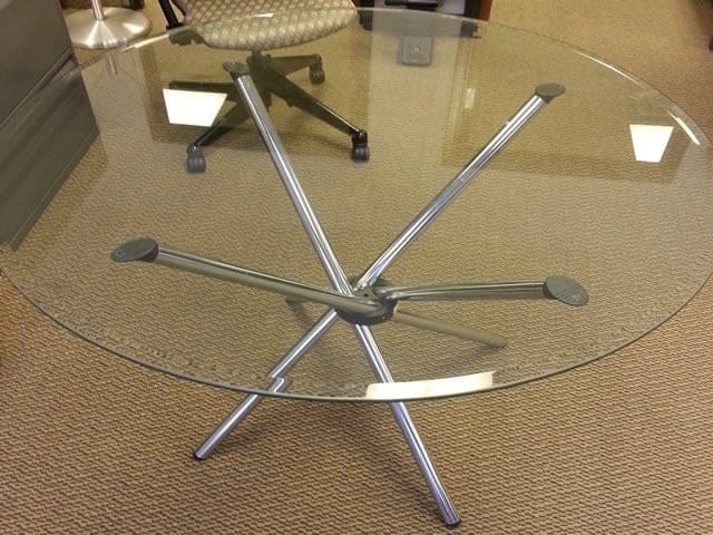 42u2033 Round Glass Conference Table