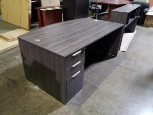 Used Gray Bow Front Desk With a BBF Pedestal