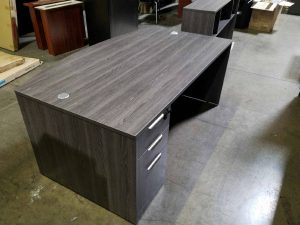 Gray Bow Front Desk and Credenza with a BBF Pedestal Used