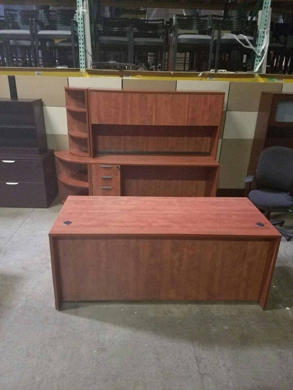 Cherry Straight Front Desk and Credenza and Hutch Used