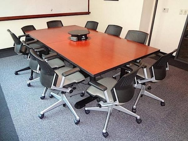 Used 8ft Cherry Wood Conference Table with Built In Power