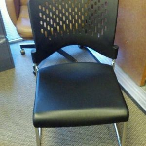 Used Black Plastic Stack Chairs With Chrome Frame