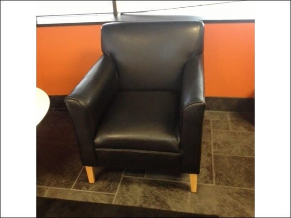 Used Black leather lobby chair