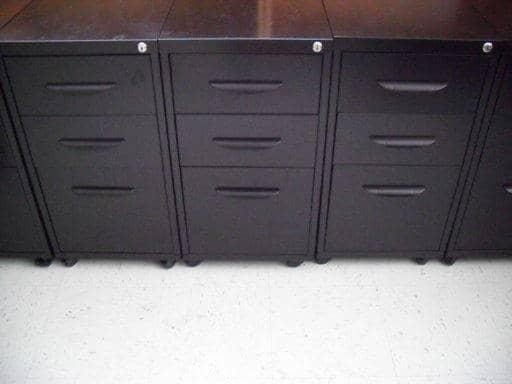 Used Black Mobile 3 Drawer Pedestals