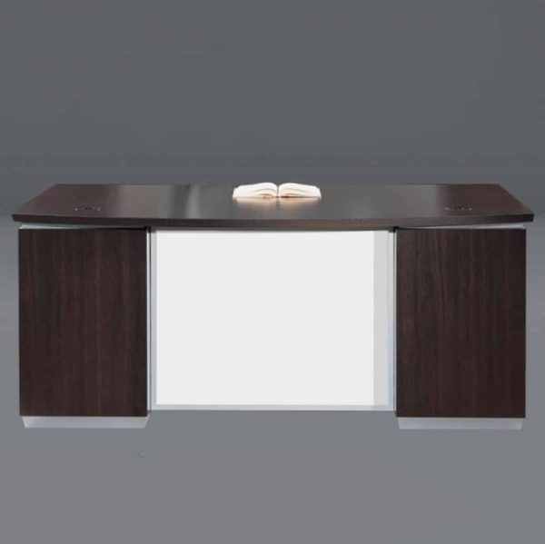 DMI Pimlico Executive Bow Front Desk with white modesty panel-7020-37WG