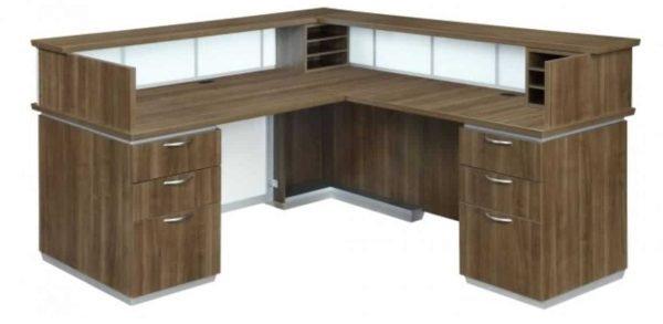 DMI Pimlico Right Reception Desk_ White Glass 7027-66WGFP (R)