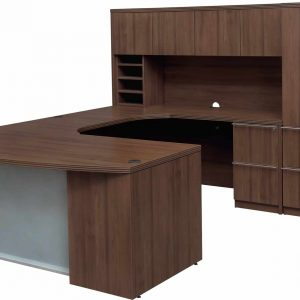 New Executive Bow Front U Shape Suite With Glass Modesty Panel & Fancy Hutch Office Desk