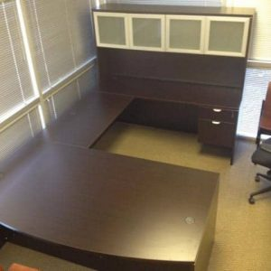 Used Espresso u shaped desk