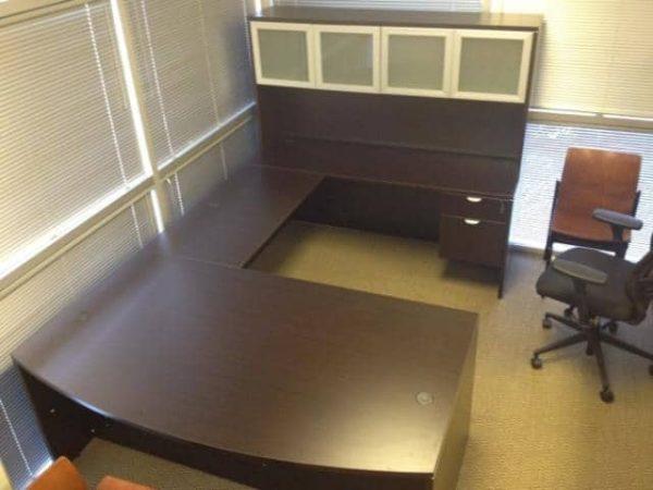 Used Espresso u shaped desk
