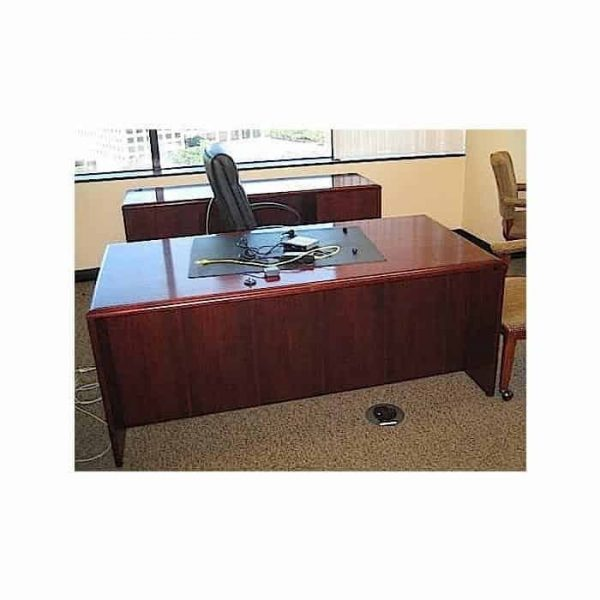 Used Executive Dark Cherry Wood Desk & Credenza Set