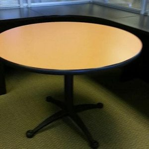 "Used 42"" Falcon Round Blonde Tan Black Base Tables"