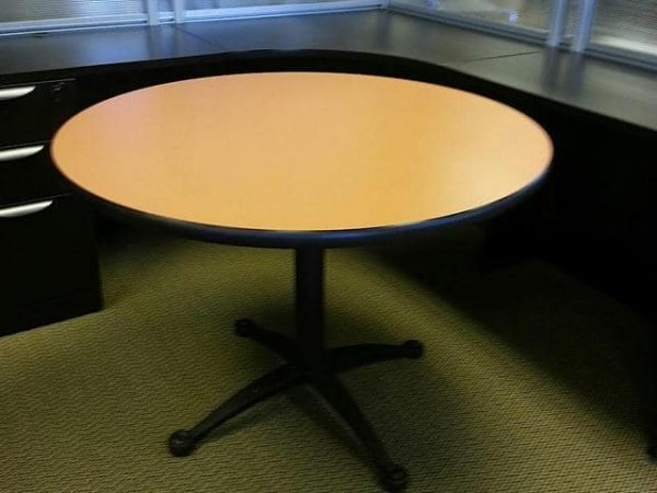 """Used 42"""" Falcon Round Blonde Tan Black Base Tables"""