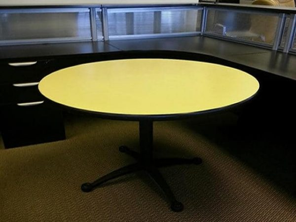 """used 42"""" Yellow Falcon round tables"""
