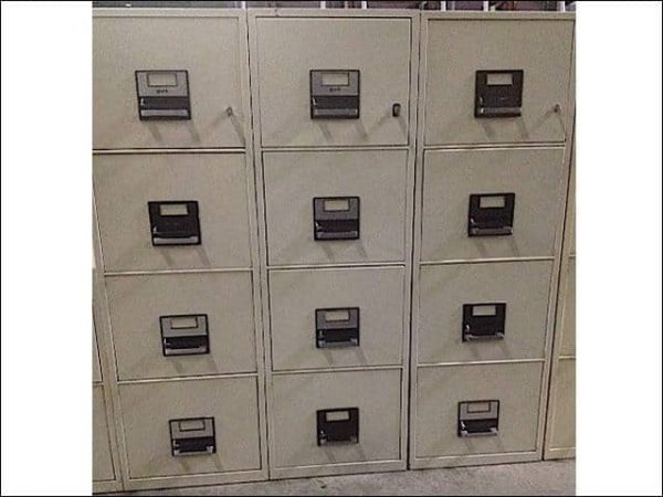 Used Fireproof 4 drawer vertical file cabinets (York)