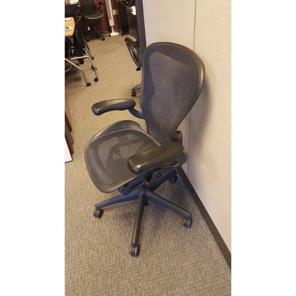 Herman Miller Aeron Size B Blue Mesh Chairs