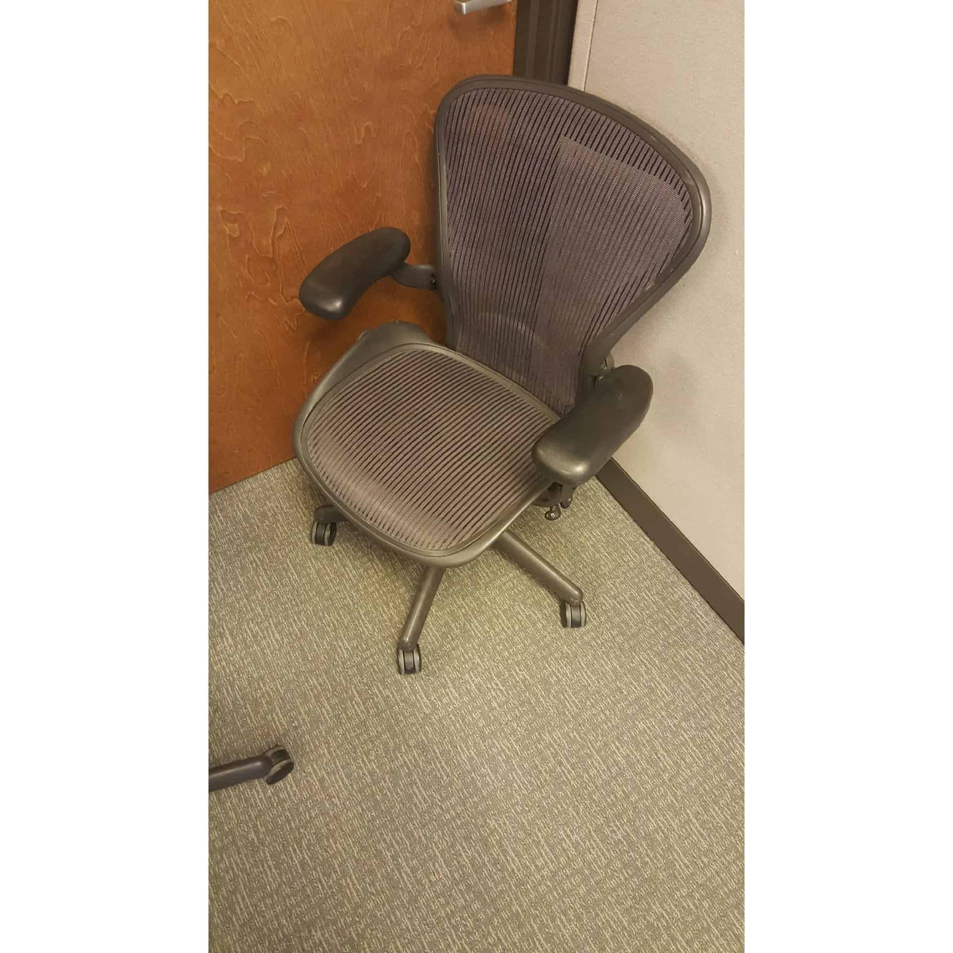 Used Herman Miller Aeron Size B Purple Mesh Office Chairs