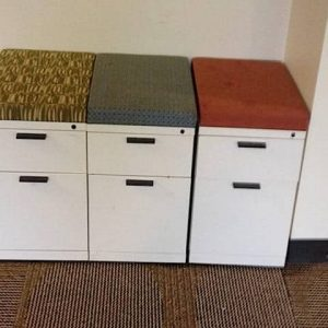 Used Herman Miller Meridian Cream BF Mobile Pedestals with Cushion