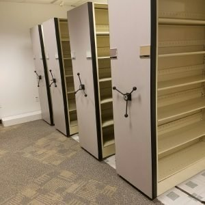 Used high density mobile shelving 4 shelf unit