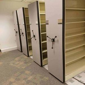 Used high density mobile shelving 4 shelf unit