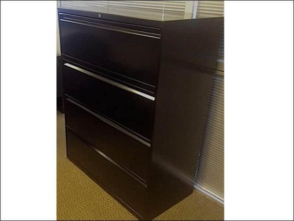 """Used Hon Black 4 drawer 36"""" Wide Lateral File Cabinets"""