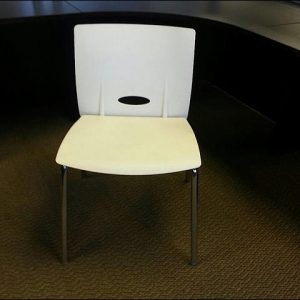 Used KI White Stacking Chairs