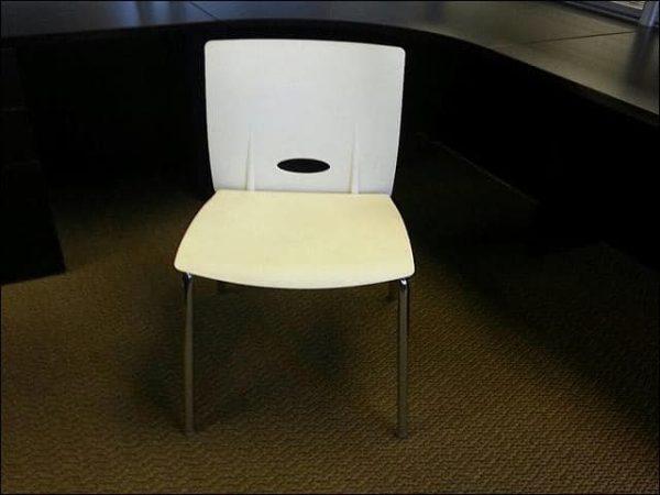 Used KI White Stacking Chairs