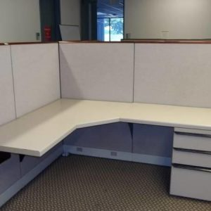 Used Kimball Cetra Cubicles with Wood Trim