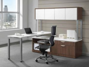 New L Shape Bench Desk with Hutch and Credenza