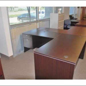used Espresso L Shaped Desk