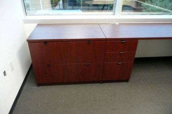Used Magna L Shape Desk Overhead Optional