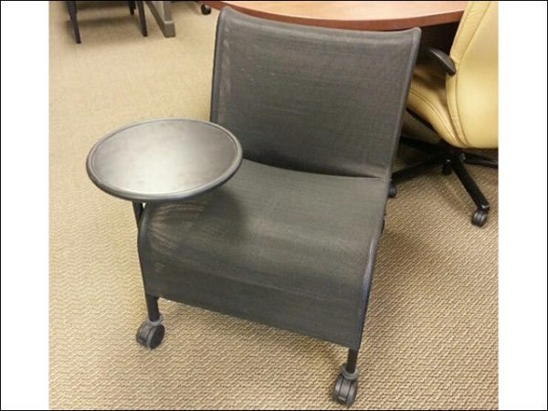Used Mesh Tablet Arm Chairs with Casters