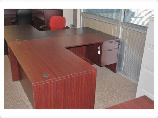 L Shape Desk Mahogany