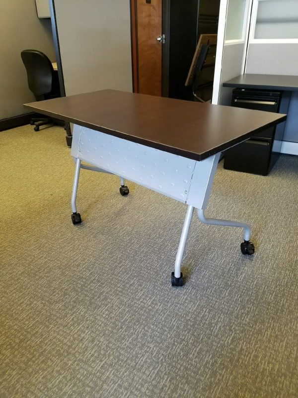 Used Espresso Flip Top Nesting Training Tables
