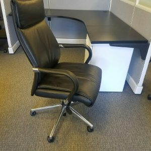 Used Black High Back Leather Chairs