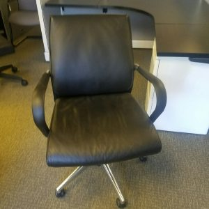 Used Black Leather Mid Back Chairs