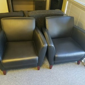 Used Black Leather Club Lounge Chair